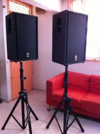 Yamaha C112V Speakers on Tripods